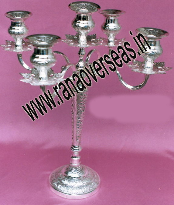 Silver Plated Engraved Candle Stand - 1