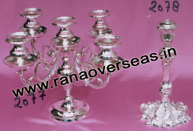 Silver Plated Candle Stands - 2077 , 2078