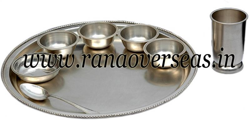 Brass Silver Plated Thali Set 01