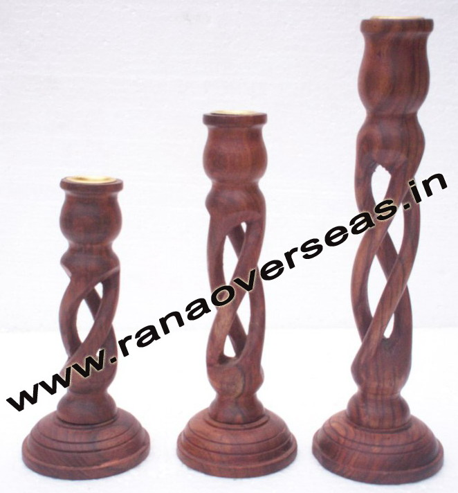 Wooden Carved Candle Stands Set of 3 Pcs - 1 Set